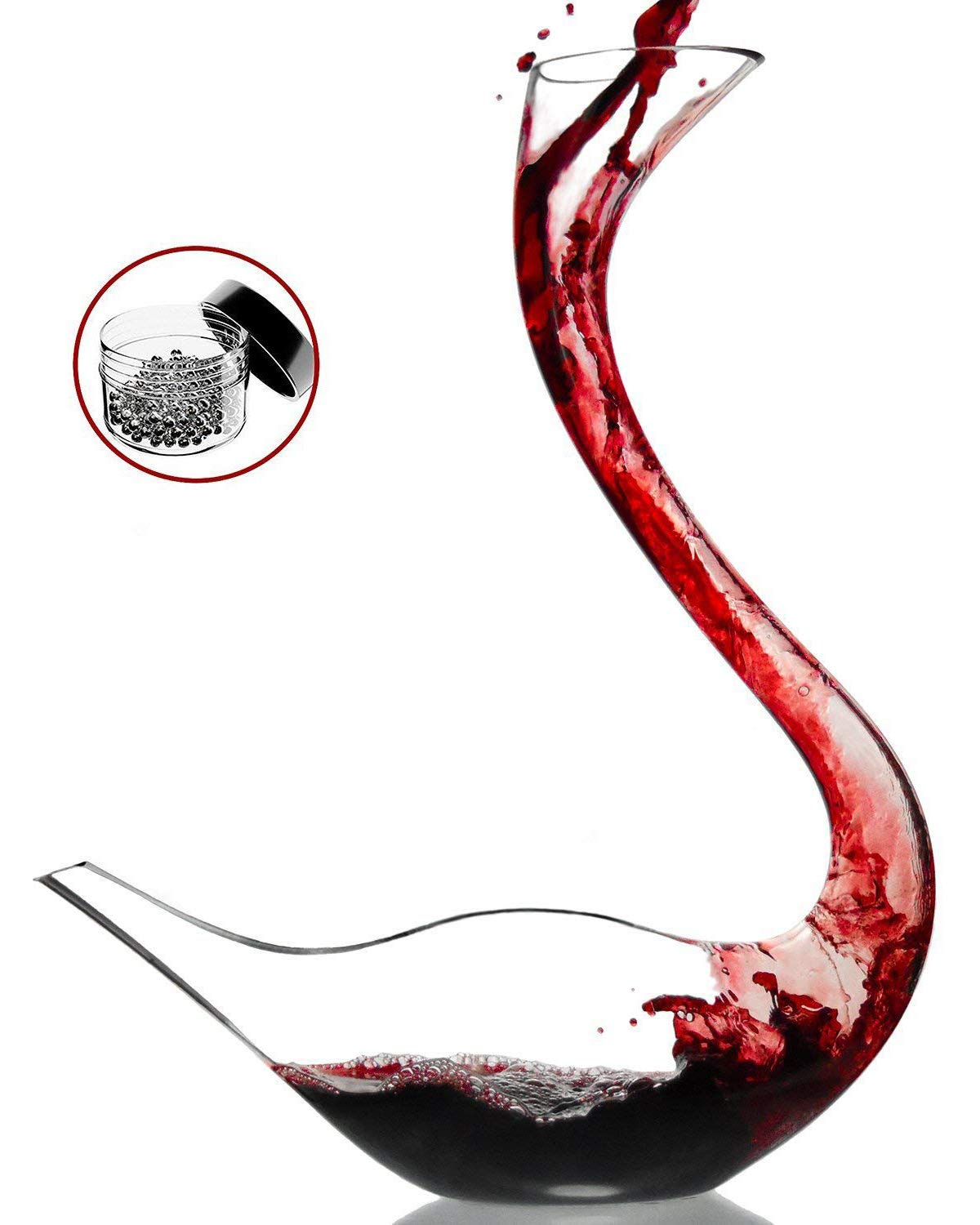 Amazing Home Cygnus Wine Decanter 100% Hand Blown Lead-free Crystal Glass Swan Decanter, Prepackaged Red Wine Carafe, Wine Gift, Wine Accessories,Gift Box Wrapped and Free Cleaning Beads Set
