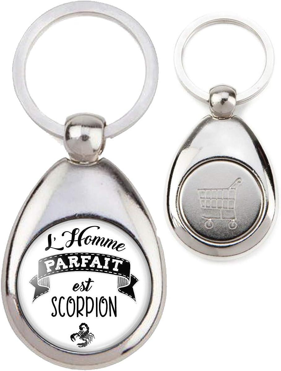 Humour Id/ée Cadeau Jeton Caddie Signe Astrologique Reloadshop Porte-Cl/és Acier Ovale lhomme Parfait est Scorpion