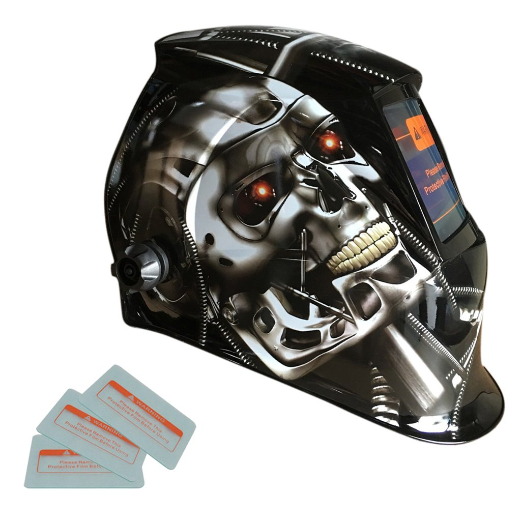 MonkeyJack Professional Solar Welding Helmet Auto Darkening Welder Shield Grinding Mask with Lens - Metal Robot