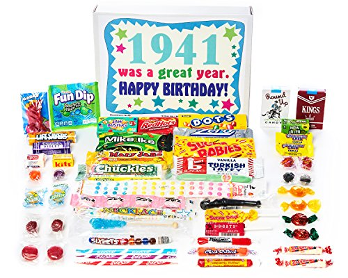 Woodstock Candy 1941 77th Birthday Gift Box of Nostalgic Retro Candy from Childhood for a 77 Year Old Man or Woman Born in 1941
