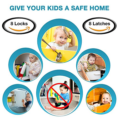Invisible Magnetic No Drill Safety Lock: Keep Your Baby Safe! Secure Kitchen & Bedroom Cabinets & cupboards With 8 Child Proof Door & Drawer Locks for Kids & toddlers.2 Keys & 3M Adhesive Straps by MQP (Image #9)