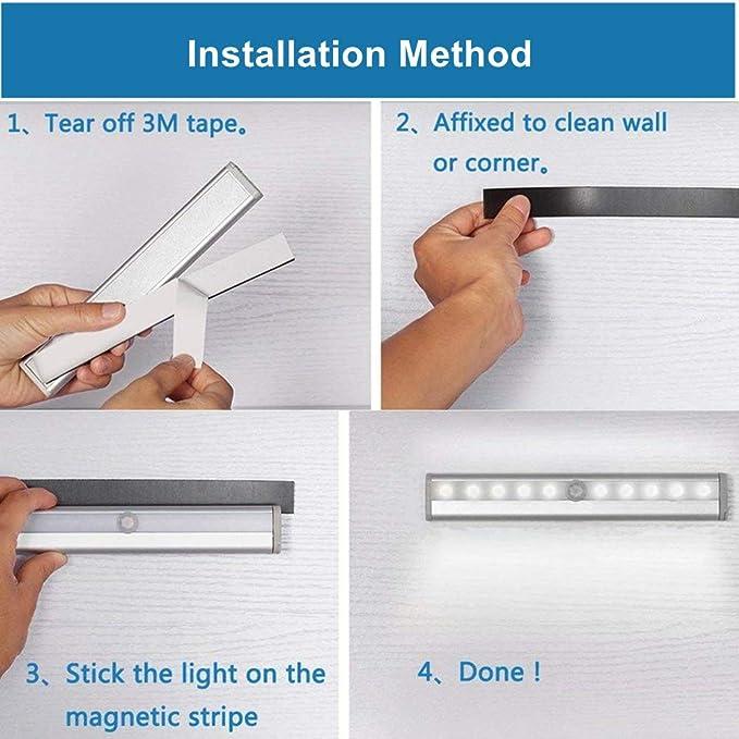 Sensor de movimiento inalámbrico, luz nocturna LED con batería y tira magnética, iluminación para debajo del armario, armario, contador de armarios, ...