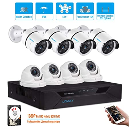 LONNKY8CH Full HD 1080P Home Security Camera System, 5-in-1 Surveillance DVR with 2TB Hard Drive and 8 2.0MP Waterproof Outdoor Indoor Camera,Motion Alert, Smartphone, PC Easy Remote Access