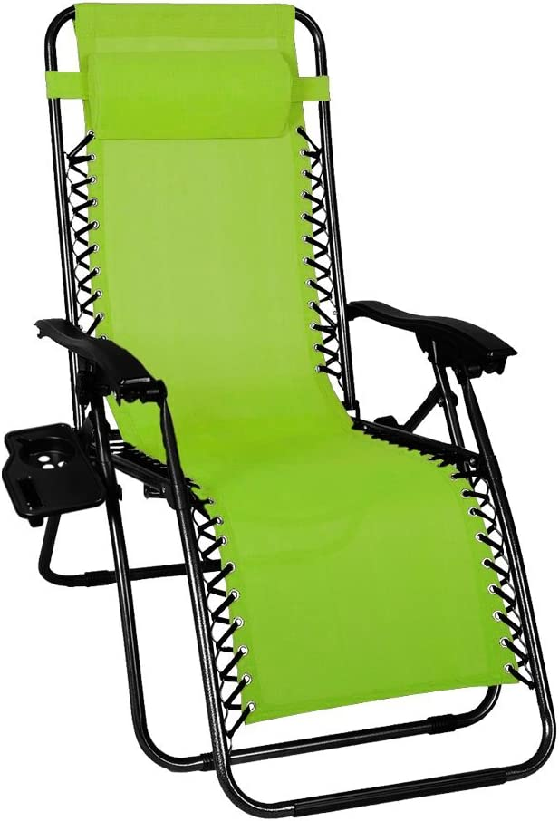 Odaof Zero Gravity Recliner Outdoor Patio Lounge Chair with Cup Holder, Light Green