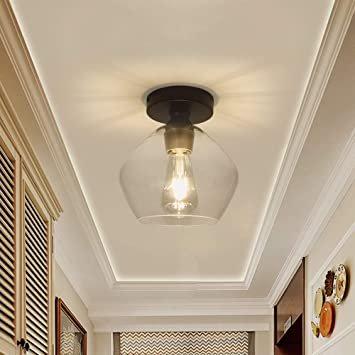 Depuley Industrial Glass Ceiling Light Fixture Vintage Close To Ceiling Light Semi Flush Mount Light For Dining Room Bedroom Cafe Bar Corridor Hallway Entryway Passway Foyer Clear Lampshade Amazon Com