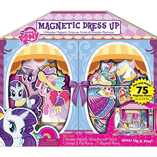 - Bendon 3 Wooden Magnetic Dress-Up Dolls & Wooden Play House (75 Pieces) - My Little Pony