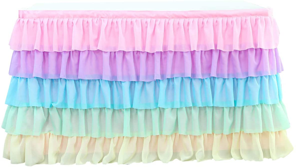 Dreamworldeu Falda de mesa de 5 capas arcoíris de tul, decoración de mesa de 15 m, 35 m, sirena, bebé, niña, fiesta, cumpleaños, tutú, mantel para mesa redonda