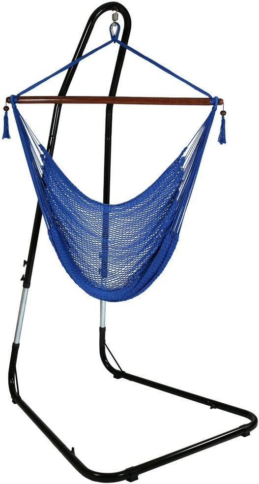 "Sunnydaze 40"" Hanging Caribbean XL Hammock Chair with Adjustable Stand - Blue - 300 lbs Weight Capacity"