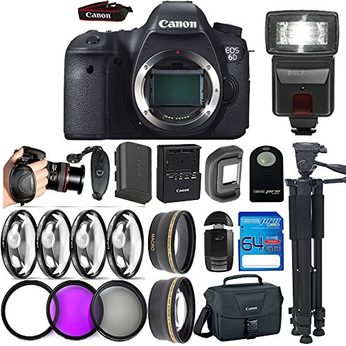 Canon EOS 6D DSLR Camera ( Body Only ) + 64GB I3-Pro Memory Card + 72'' I3-Pro Tripod + I3-Pro Auxiliaries Lenses + Deal-Expo Accessories Bundle by Deal-Expo