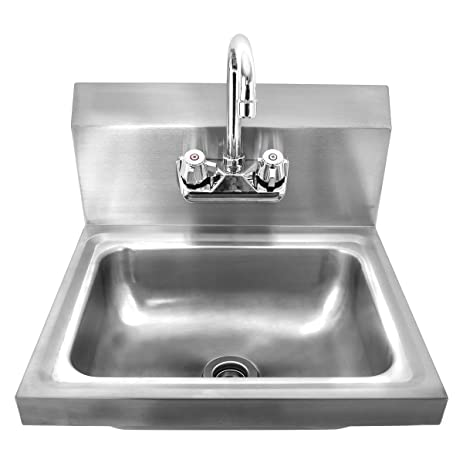 Costzon Stainless Steel Kitchen Sink Wall Mounted Commercial Washing ...