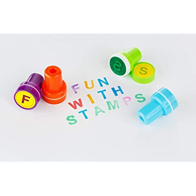 Moore: Premium 26 Piece Self Inking Alphabet Plastic Stampers, Multi Color Bright Alphabet Ink Stamps, DIY Craft for Children, Party Gifts, Teacher Stamps: Office Products