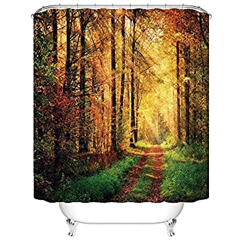 CHARMHOME Sunny Autumn Forest Decorative Bathroom Mildew Resistant Fabric Waterproof Shower Room Decor Shower Curtains 60 x 72