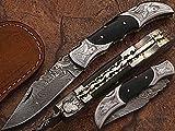 Custom made damascus blade folding knife, damascus bolster, one of a stunning folding knife. 5162-ENG-H