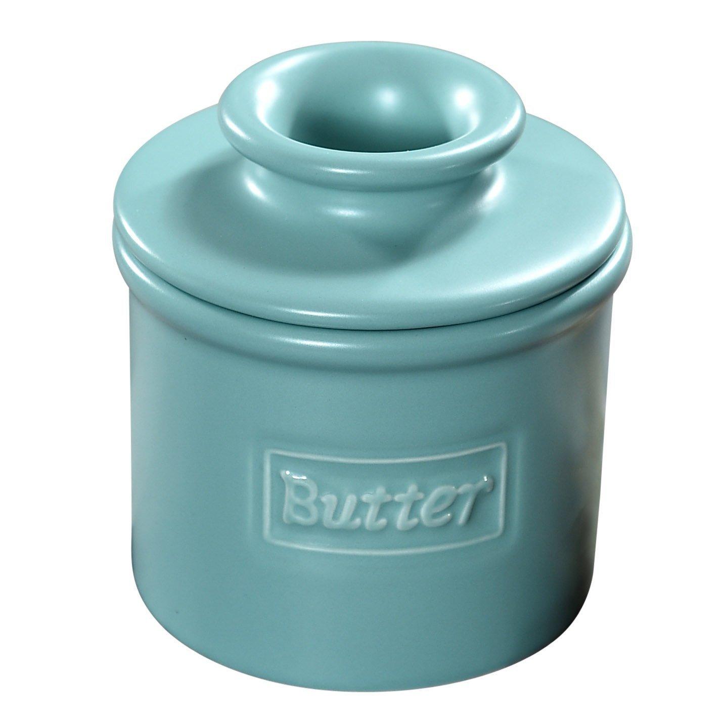 The Original Butter Bell Crock by L. Tremain, Cafe Matte Collection - Aqua Matte