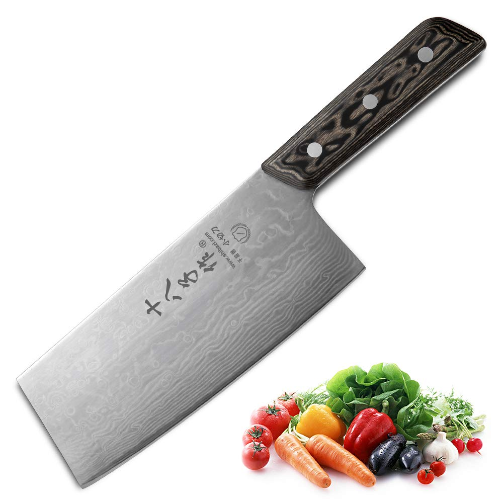 SHI BA ZI ZUO Chinese Meat Cleaver Vegetable Kitchen Cleaver Knife Superior Damascus Pattern Steel Knife with Ergonomic Design Comfortable Wooden Handle by SHI BA ZI ZUO