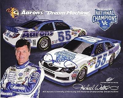 'AUTOGRAPHED 2012 Michael Waltrip #55 AARON''S RACING (Kentucky National Champions) 8X10 NASCAR Hero Card w/ COA'