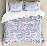 Hawaii King Size Duvet Cover Set by Ambesonne, Tropic Doodle with American Girl Wearing Grass Skirt Flower Patterned Shirt, Decorative 3 Piece Bedding Set with 2 Pillow Shams, Pale Blue Pink