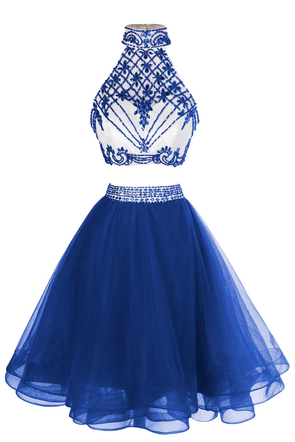 978d7f789d9 MsJune Women s Short Prom Gown Two Piece Beaded Tulle Homecoming Party  Dresses Royalblue 18W