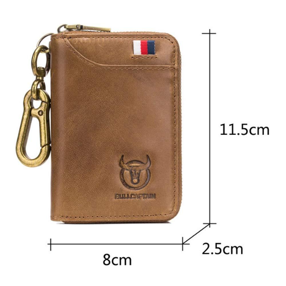 Shengjuanfeng Mens Wallet Key Bag Leather Business Universal Door Lock Bag Soft Cowhide Multi-Card Convenient Coin Purse Color : Brass, Size : S