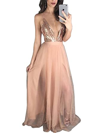 DYS Womens Deep V Neck Prom Dresses Rosegold Sequins Top Tulle Party Dress Split - Gold