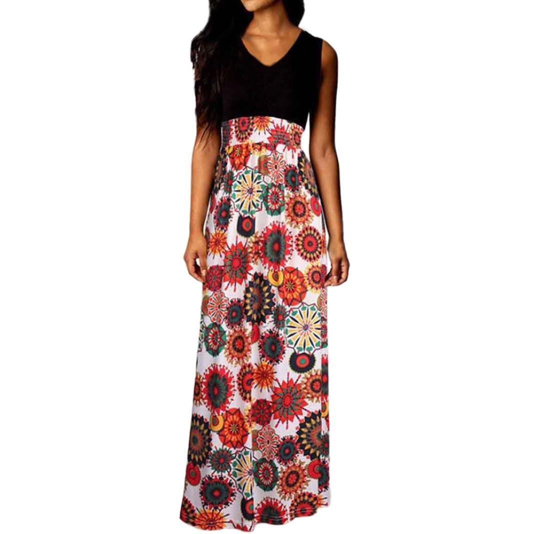 Vestidos Mujer Verano 2018,Mujer Bohemia Maxi verano playa larga cóctel fiesta vestido floral LMMVP (S, S): Amazon.es: Belleza