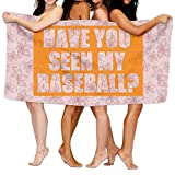 Dianqusha Have You Seen My Baseball Women's Adjustable Microfiber Plush Spa Bath Shower Wrap For College Dorms, Pools, Gyms, Beaches, Locker Rooms, Bathroom
