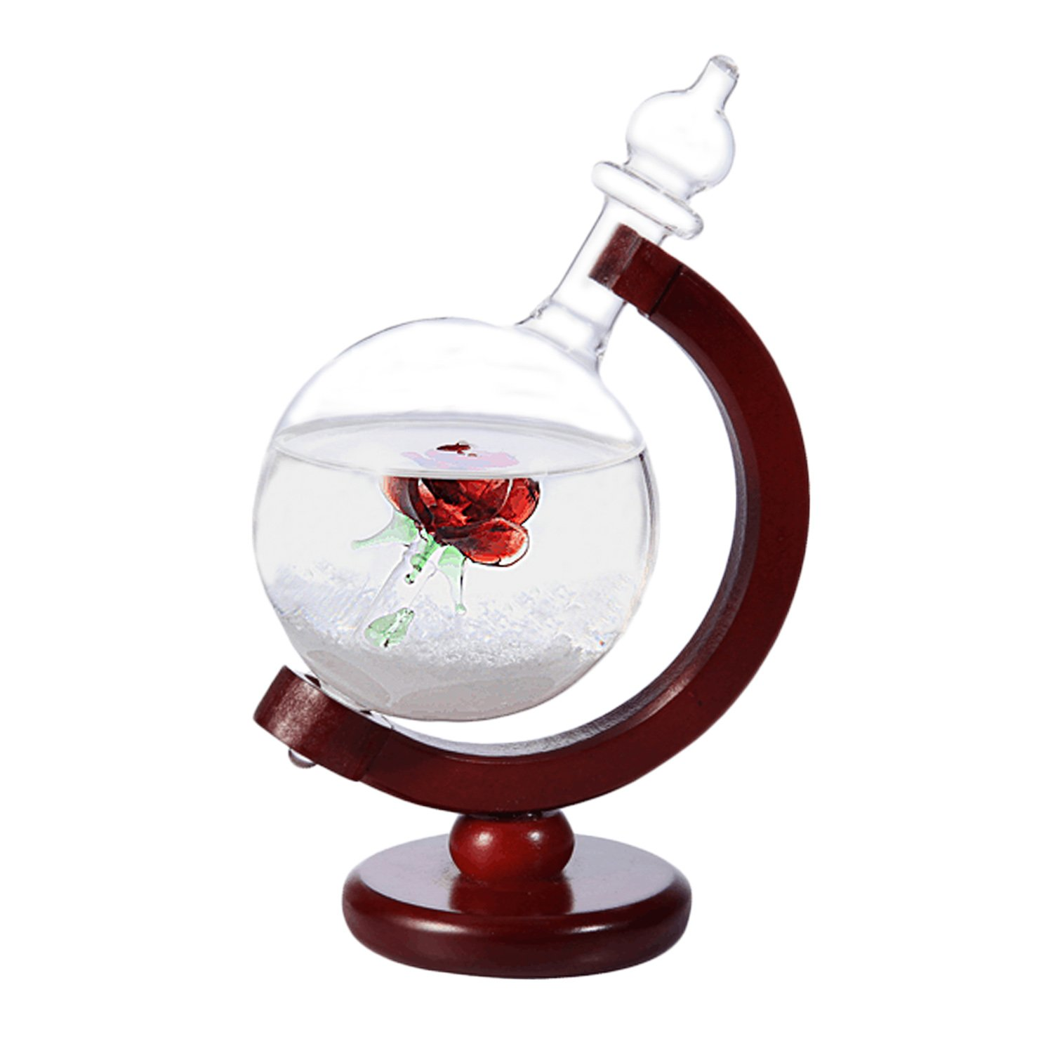 KKWELL Christmas's Day Storm Glass Weather Predictor Bottles Forecast Bottles Barometer Weather Glass Globe Figurine Crystal Home Office Decors Birthday Gifts (flower)
