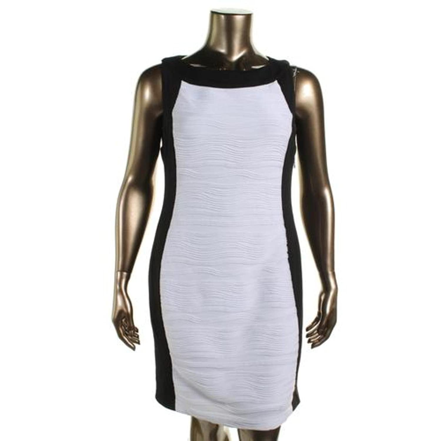 Calvin Klein Women's Colorblock Ribbed Wavy Sheath Dress 22W Ivory Black free shipping