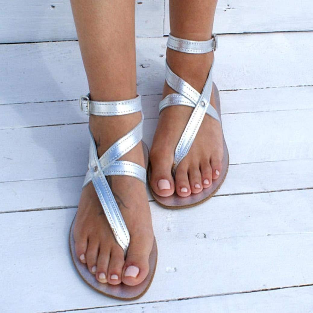 Sinwo Women Fashion Buckle Round Toe Flat Roman Sandals Leisure Beach Shoes (5.5, Silver)
