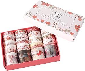 20 Rolls Masking Washi Tape Set Red Flower Floral Grass Sweet Food Kawaii Animal Decorative DIY Sticker Label Decor for Gift Packing Diary Album Scrapbooking Planner Journal Craft Art