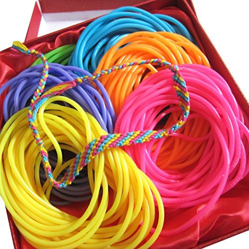 Adorox 144 Bracelets Neon Jelly Bracelets Rainbow Colors Party Favors Birthday Gifts Prizes Assorted (Assorted (144 Bracelets)) -