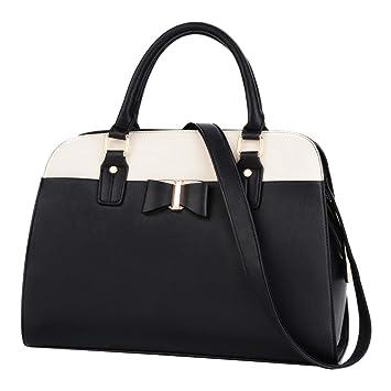 billig zu verkaufen Volumen groß auf Füßen Bilder von Damen Handtasche, COOFIT Handtasche Damen Schwarz Groß Taschen  Umhängetasche Leder Schultertasche Bowknot Crossbody Tasche Tote Handtaschen