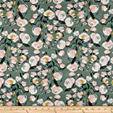 Art Gallery Fabrics Art Gallery Sparkler Fusion Everlasting Blooms Fabric by the Yard, Spruce