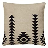 Southwest Patterned White/Black Wool-blend 18-inch Woven Throw Pillow