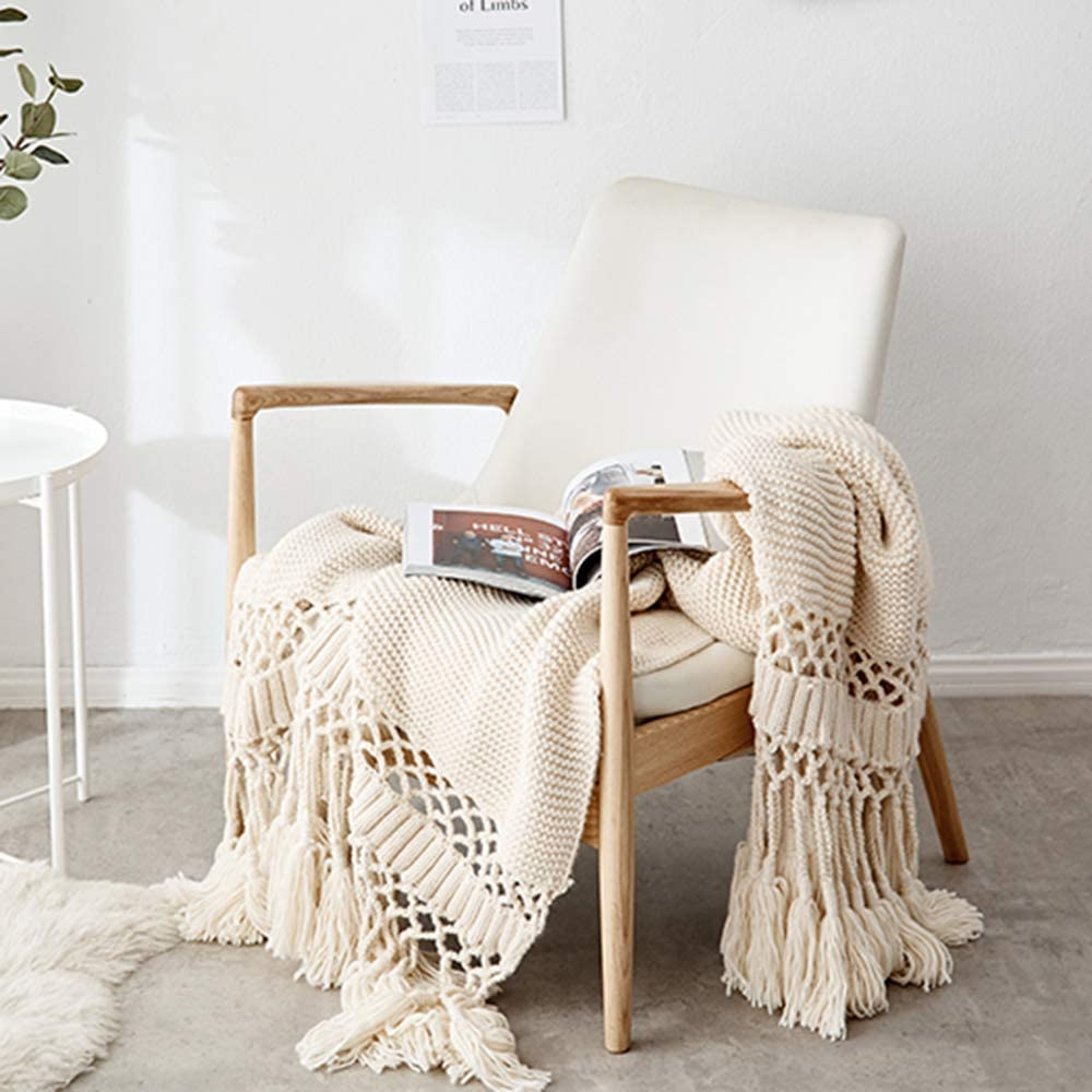 MYLUNE Home Knitted Fringe Throw Blanket 47 x 71 inch Beige丨Luxury Stylish Handmade Chunky Knitted Throw Blanket for Bed Sofa Chair Couch Cover Living Room Bedroom
