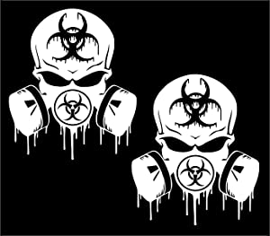 UR Impressions 3.6in. Skull Dripping Biohazard Respirator 2-Pack Decal Vinyl Sticker Graphics for Cars Trucks SUV Vans Walls Windows Laptop White 3.6 X 3.3 inch UR731