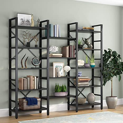 Amazon Com Tribesigns Triple Wide 5 Shelf Bookcase Etagere Large Open Bookshelf Vintage Industrial Style Shelves Wood And Metal Bookcases Furniture For Home Office All Black Kitchen Dining