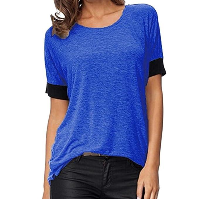 Koly Mujeres Verano Blusas y camisas Pullover Casual Atractiva suelto Camisa Manga Corta Cuello V Blusa