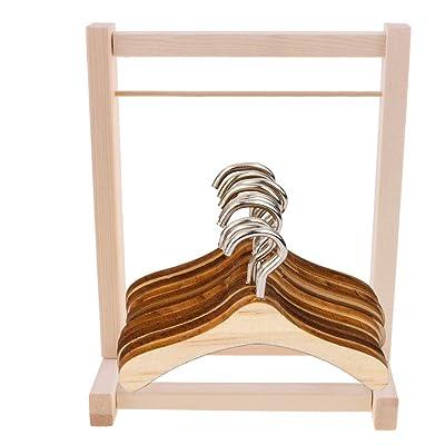 F Fityle Modelo Armario de Madera Miniatura Percha Accesorios DIY para Muñeca Muchacha 12 Pulgadas: Juguetes y juegos