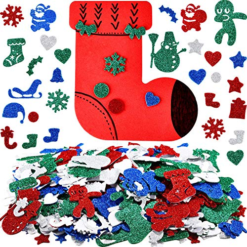 Gejoy 300 Pieces Self-Adhesive Christmas Glitter Foam Craft Stickers with 24 Pieces Christmas DIY Foam Craft Kits for Christmas Party Decoration and Display (Style 3)