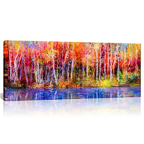 Canvas Art Wall Decor Maple Tree Autumn Forest with Blue River Scenery Posters Painting Prints Framed Landscape Wall Decor for BED Room Ready to Hang 20