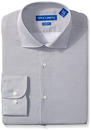 - VINCE CAMUTO Men's Modern Fit Printed Pindot Dress Shirt, Black, 15 32/33
