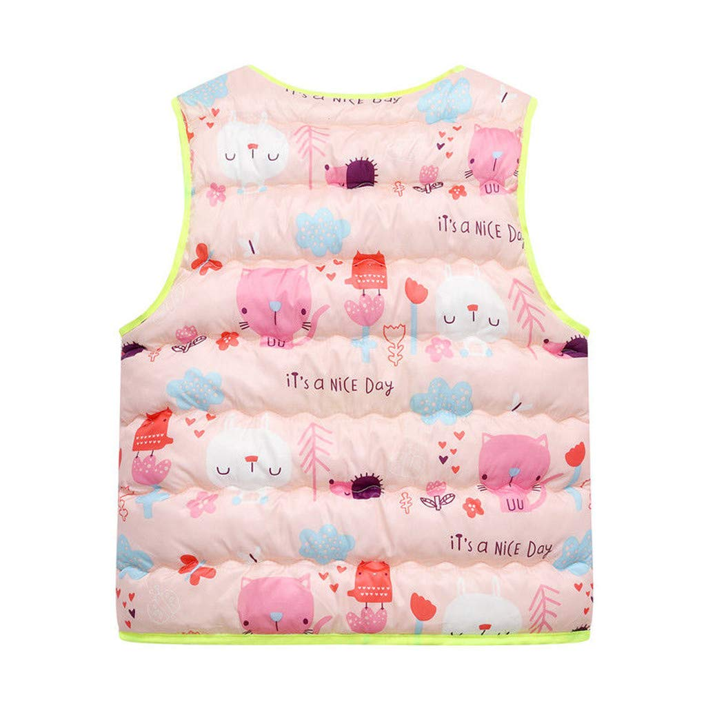 Toddler Kids Baby Girls Boys Vest Sleeveless Print Cute Cartoon Winter Warm Waistcoat Jacket Tops for 2-7 Years