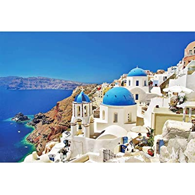 Aegean Sea Jigsaw Puzzles 1000 Pieces for Adults - Dreamy Greece Santorini Landscape Bay Castle Puzzle DIY Mural Painting Entertainment Toy: Arts, Crafts & Sewing