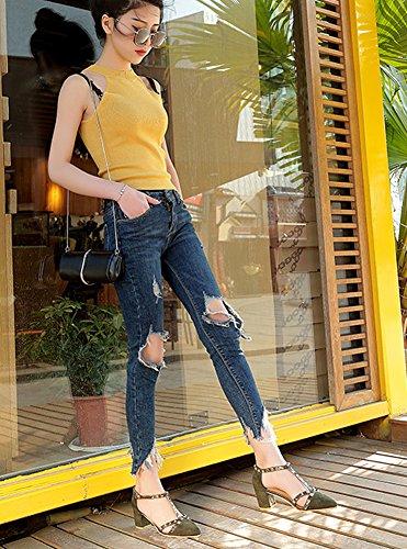 Minetom Cerrado Sandalias Verano Puntiagudos Zapatos De La Señora De Tacón Alto Gruesa Remache Empalme Hebilla Moda Mujer Estiletes Casual Verde