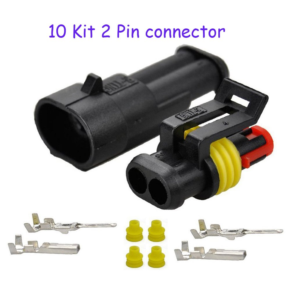 Hifrom 5 Kit Of 2 Pin Way Waterproof Electrical Connector 15mm Wire Harness Series Terminals Heat Shrink