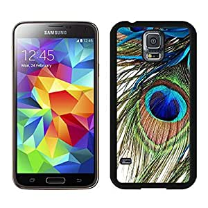 Graceful Samsung Galaxy S5 Case Elegant Peacock Feather Soft TPU Silicone Black Phone Covers by lolosakes