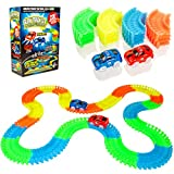Create-A-Track 220 Piece Flexible Race Track & 2 Light Up Cars Playset - Racing Cars Construction Toy For Boys or Girls