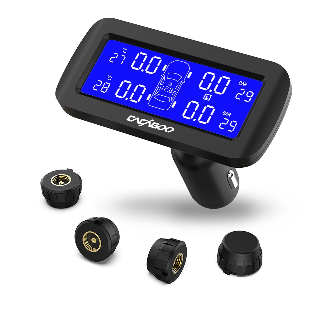CACAGOO Wireless TPMS Tire Pressure Monitoring System with 4pcs External Sensors (0-8.0 Bar/ 0-116 Psi), Temperature and Pressure LCD Display, Real-time Alarm Function
