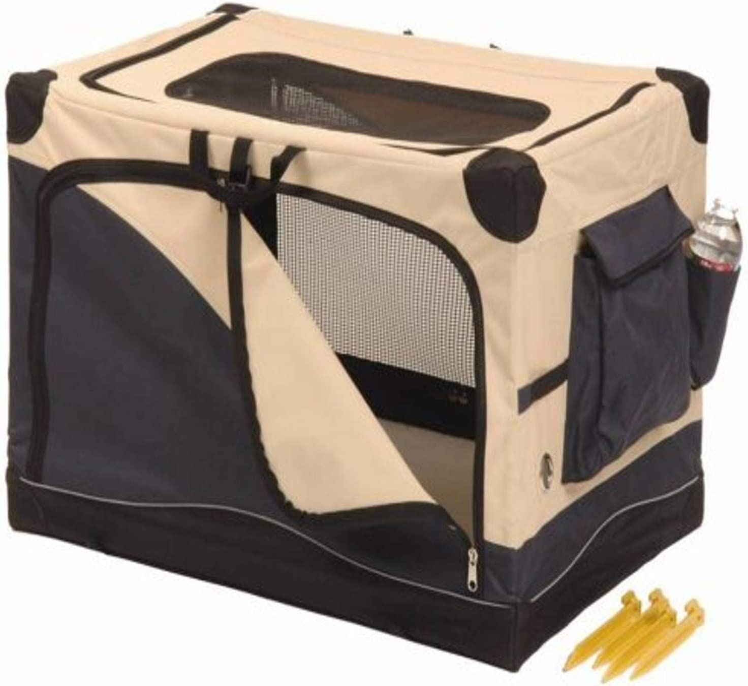 Soft Side Pet Crate, Navy/Tan